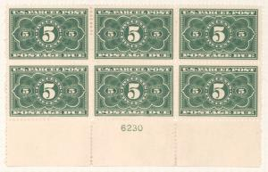 5c dark green Parcel Post Postage Due block of six