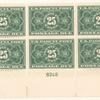 25c dark green Parcel Post Postage Due block of six
