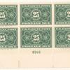 25c dark green Parcel Post Postage Due block of six