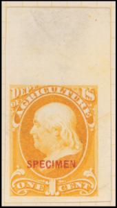 1c yellow Franklin Specimen single