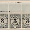 3c black numeral top imprint and plate number strip of 7