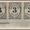 3c black numeral bottom imprint and plate number strip of seven