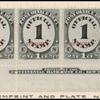 1c black numeral specimen bottom imprint and plate number strip of ten