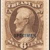 6c brown Lincoln Treasury department official Specimen single