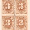 3c brown Postage Due block of four
