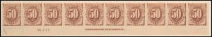 50c brown Postage Due strip of ten
