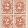 2c red brown Postage Due block of four