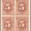 5c red brown Postage Due block of four