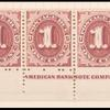 1c bright claret Postage Due strip of ten