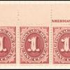 1c bright claret Postage Due strip of five