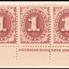 1c bright claret Postage Due strip of nine