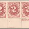 2c bright claret Postage Due strip of five