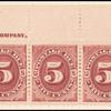5c bright claret Postage Due strip of five