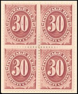 30c bright claret Postage Due block of four