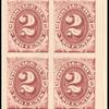 2c bright claret Postage Due proof block of four
