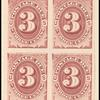 3c bright claret Postage Due proof block of four