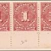 1c deep claret Postage Due strip of five