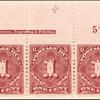 1c deep claret Postage Due strip of three