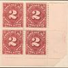 2c deep claret Postage Due block of four