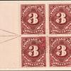 3c deep claret Postage Due block of four