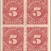5c deep claret Postage Due block of four