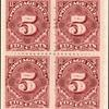 5c deep claret Postage Due block of four