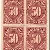50c deep claret Postage Due block of four