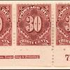 30c deep claret Postage Due strip of three