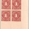 1c deep claret Postage Due block of four