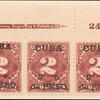 2c deep claret Postage Due strip of three