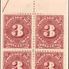 3c deep claret Postage Due block of four