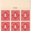 1c carmine rose Postage Due block of six