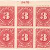 3c carmine rose Postage Due block of six