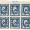 10c on 5c blue Washington block of six