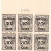 30c on 15c gray Franklin block of six