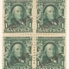 1c blue green Franklin block of four