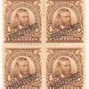 4c brown Ulysses S. Grant block of four