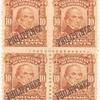10c pale red brown Daniel Webster block of four