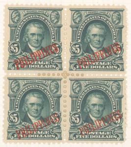 $5 dark green John Marshall block of four