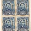 5c blue Abraham Lincoln block of four