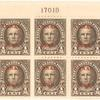 1/2c olive brown Nathan Hale block of six