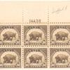 30c olive brown Buffalo block of six