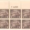 $1 violet brown Lincoln Memorial block of six