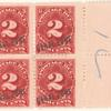 2c rose carmine Postage Due block of four