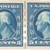 5c blue Washington strip of four