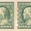 1c green Franklin pair