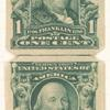 1c blue green Franklin pair