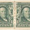 1c blue green Franklin strip of four