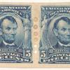 5c blue Abraham Lincoln pair