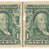 1c blue green Franklin pair
